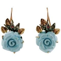 Turquoise, Rubies, Diamonds 9 Karat Rose Gold and Silver Vintage Dangle Earrings