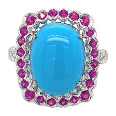 Turquoise, Ruby, and Diamond Cluster Ring 18 Karat White Gold