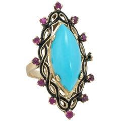 Turquoise Ruby Black Enamel Cocktail Ring Vintage 14 Karat Gold Estate Jewelry