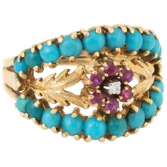 Turquoise Ruby Diamond Wreath Flower Band Ring Vintage 18 Karat Gold Estate