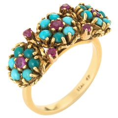 Turquoise Ruby Flower Ring Vintage 1960s 18 Karat Yellow Gold Estate Jewelry