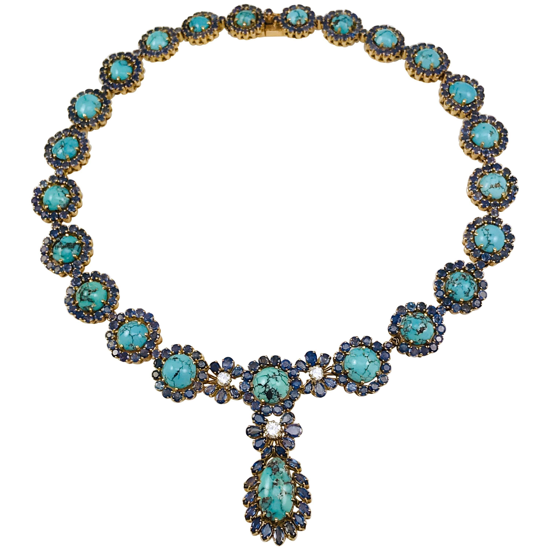18 Karat Turquoise Blue Sapphire Diamond Necklace