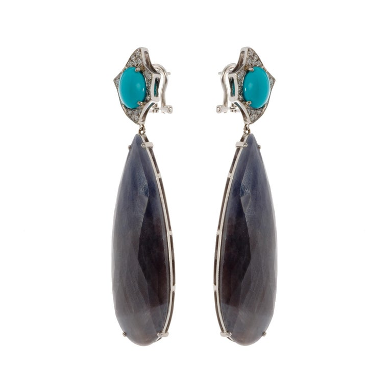 Turquoise, Sapphire and White Diamond Pendent Cocktail Earrings In New Condition For Sale In London, GB