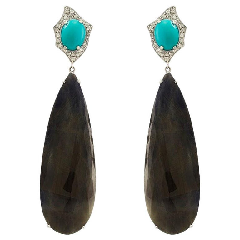 Turquoise, Sapphire and White Diamond Pendent Cocktail Earrings For Sale