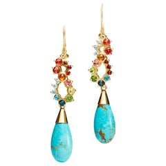 Turquoise, Sapphire, Tourmaline, Garnet and Aquamarine Day to Night Earrings