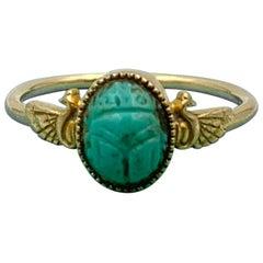 Turquoise Scarab Winged Phoenix Bird Ring Egyptian Revival Antique 14 Karat Gold