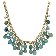 Turquoise Seed-Pearl Gold Drop Necklace