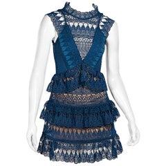 Turquoise Self-Portrait Crochet-Lace Mini Dress