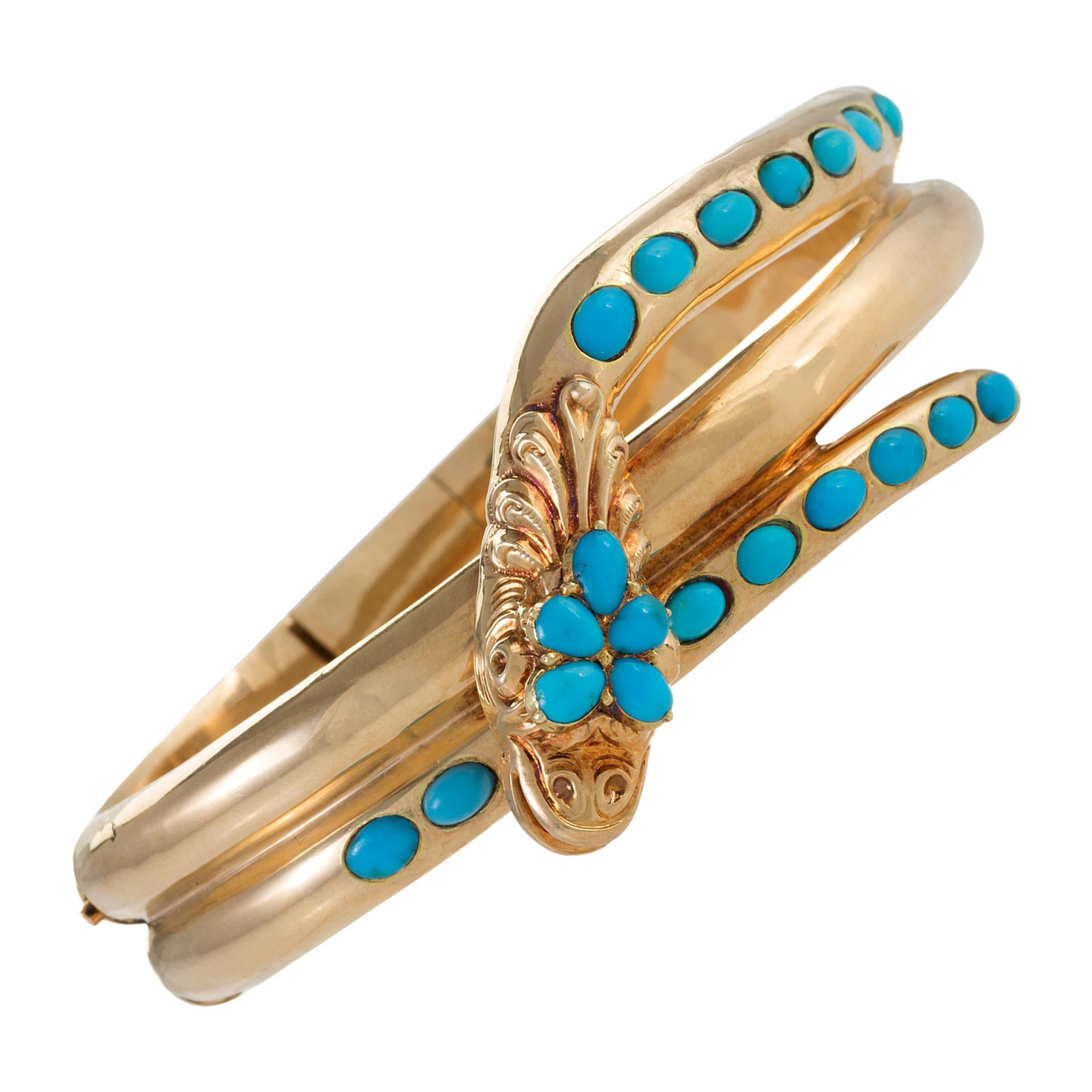 Turquoise Serpent Bangle Bracelet