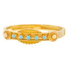 Turquoise-Set Antique Bangle Bracelet
