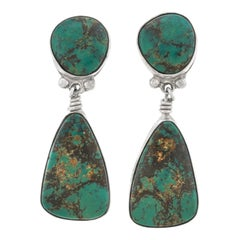 Turquoise Set Navajo Sterling Earrings