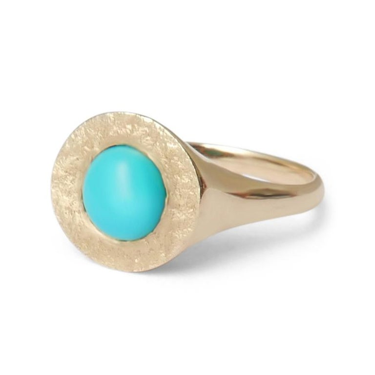 Women's or Men's Turquoise Signet Ring in 14 Karat Gold by Allison Bryan For Sale