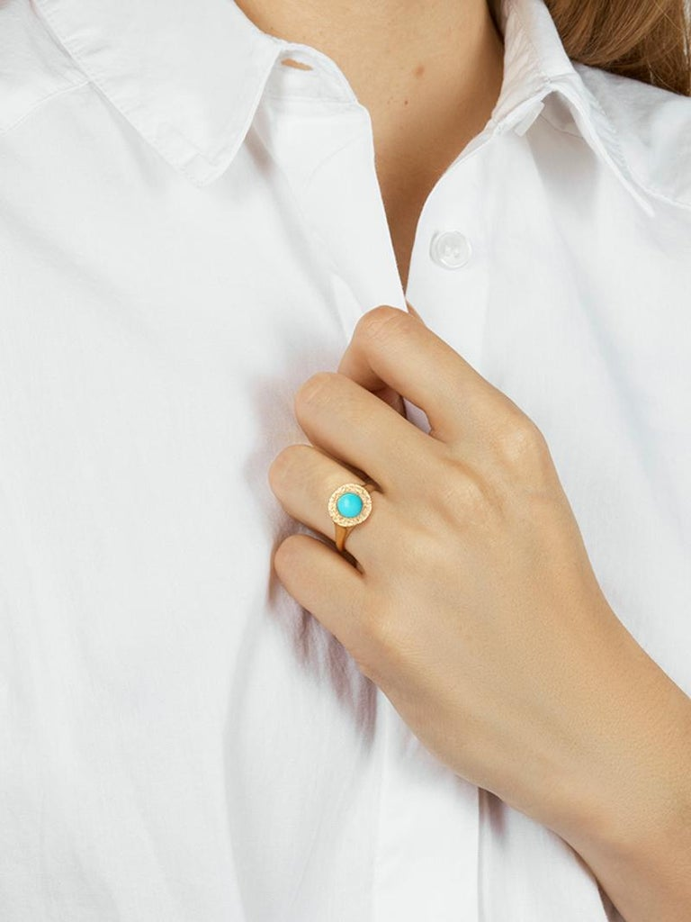 Round Cut Turquoise Signet Ring in 14 Karat Gold by Allison Bryan For Sale