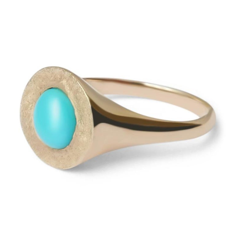Turquoise Signet Ring in 14 Karat Gold by Allison Bryan In New Condition For Sale In London, GB