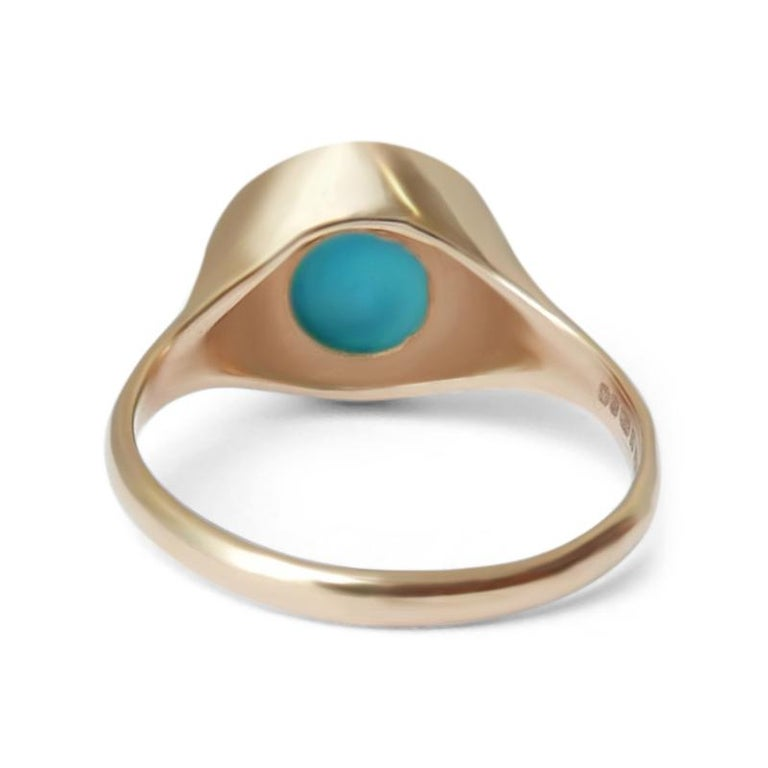 Turquoise Signet Ring in 14 Karat Gold by Allison Bryan For Sale 1