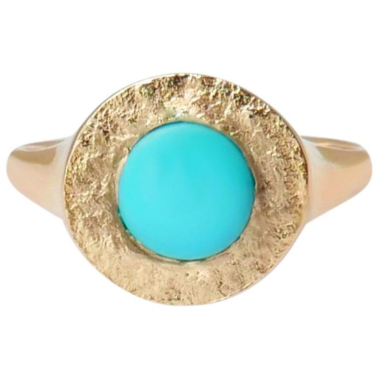 Turquoise Signet Ring in 14 Karat Gold by Allison Bryan For Sale