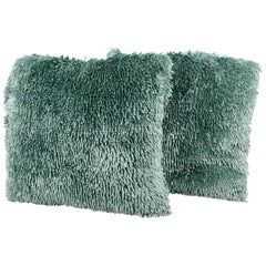 Turquoise Silky Thread Throw Pillow, a pair