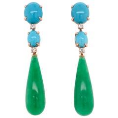 Turquoise, Sky Topaz and Jade on Yellow Gold 18 Karat Chandelier Earrings