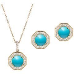 Turquoise Small Pendant and Stud Earrings with Diamonds