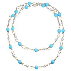 Turquoise South Sea Pearl Necklace in 14 Karat Yellow Gold