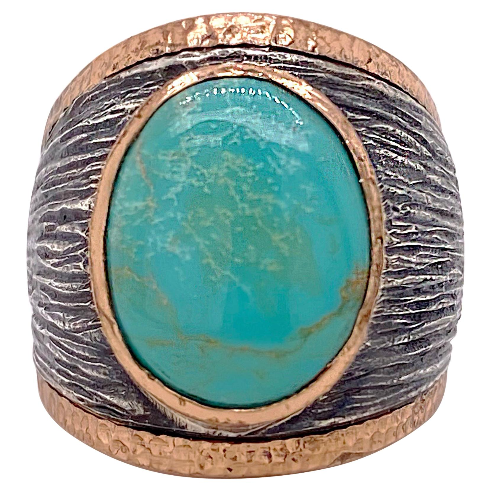 Turquoise Statement Ring, 6 Ct Natural Turquoise Sterling Mixed Metal