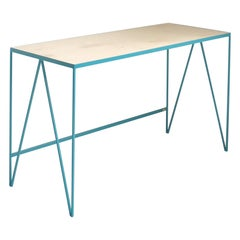 Turquoise Steel Study Desk or Writing Table with Birch Wood Top, Customisable
