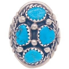 Turquoise Sterling Silver Bombay Ring, Blue, 925, Multi-Stone Sterling