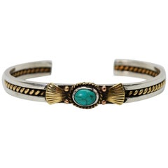 Turquoise Sterling Silver with Gold Cuff Bracelet