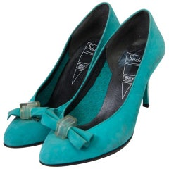 Turquoise Suede 1980s Pumps by Seducta