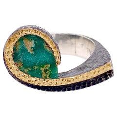 Turquoise Swirl Ring, Mixed Metal Ring Pear Arizona Turquoise Ring