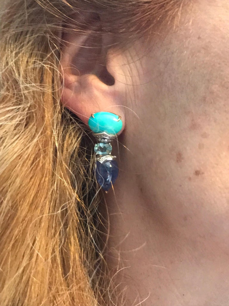 Turquoise, Tanzanite and Aquamarine with White Diamonds Drop Earrings For Sale 1