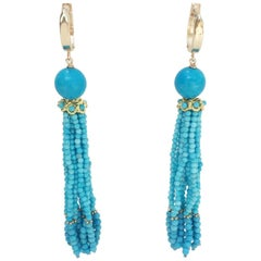 Turquoise Tassel Earrings with 14 K Gold Cup and Lever Back by Marina J