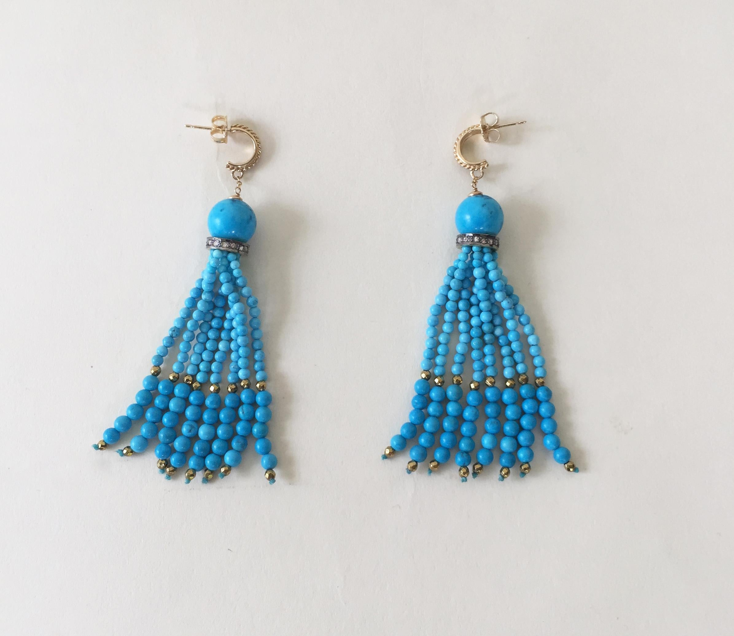 bae01a6ee Turquoise Tassel Earrings with Diamonds and Vermeil Beads with 14 Karat  Gold at 1stdibs
