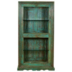 Turquoise Teak and Glass Display Cabinet, 20th Century