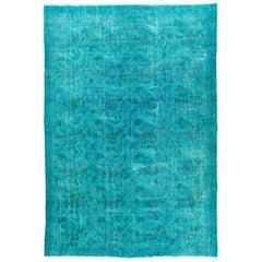 Turquoise, Teal Blue Color Overdyed Handmade Vintage Turkish Rug