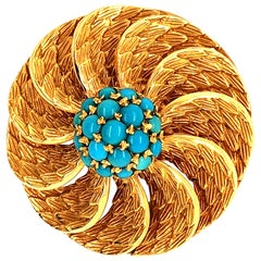 Turquoise Textured Gold Leaf Floral Flower Circle Swirl Brooch Pendant