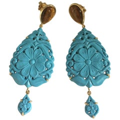 Turquoise Tiger Eyes 18 Karat Gold Earrings