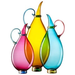 Turquoise, Topaz, Ruby Set of 3 Colorful Hand Blown Glass Decanters, Vetro Vero
