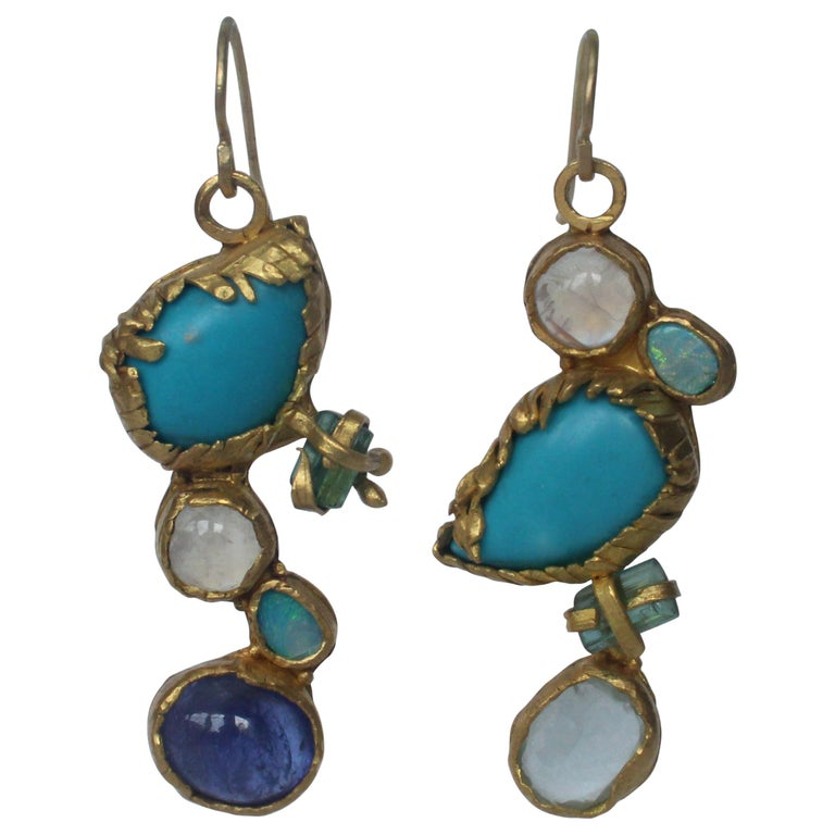 Turquoise Tourmaline Crystals 22k-21k Gold Handmade Dangle Drop Organic Earrings For Sale