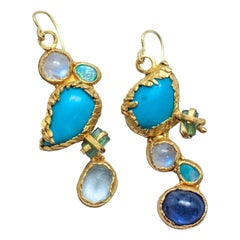 Turquoise Tourmaline Crystals 22k-21k Gold Handmade Dangle Drop Organic Earrings