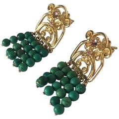 Turquoise Tourmaline Gold Etrusco Earrings