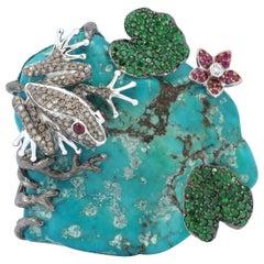 Turquoise, Tsavorite, Ruby, Brown Diamond and Diamond Frog Brooch Set in 18K