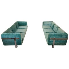Turquoise Velvet Pair of Couches by Azucena in Chrome Frame