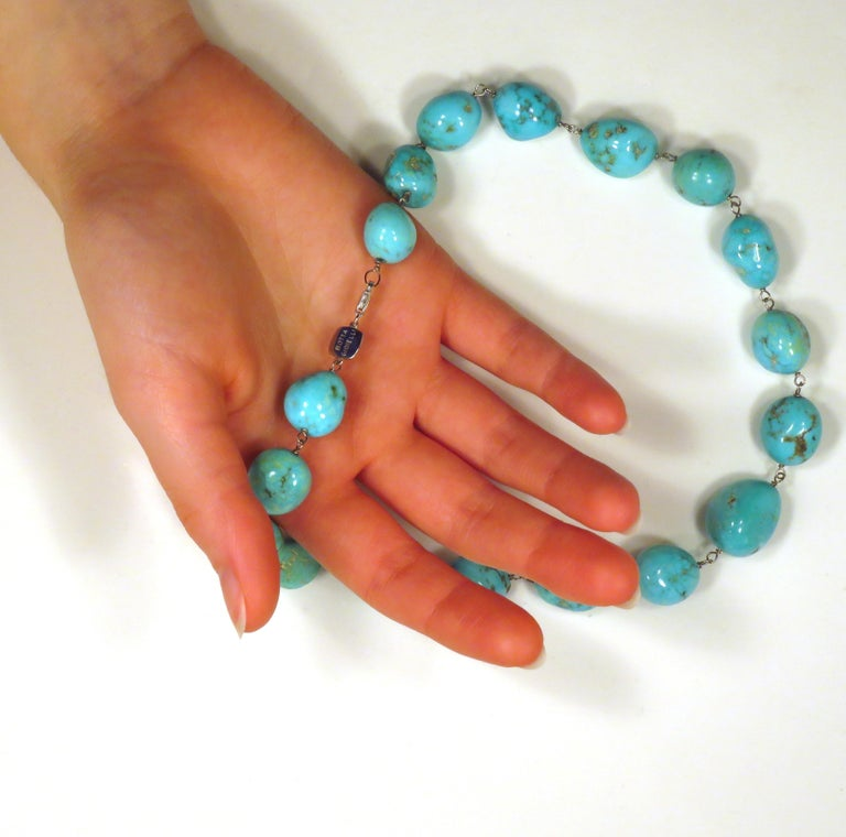 Turquoise White Gold Necklace Handcrafted in Italy by Botta Gioielli For Sale 2