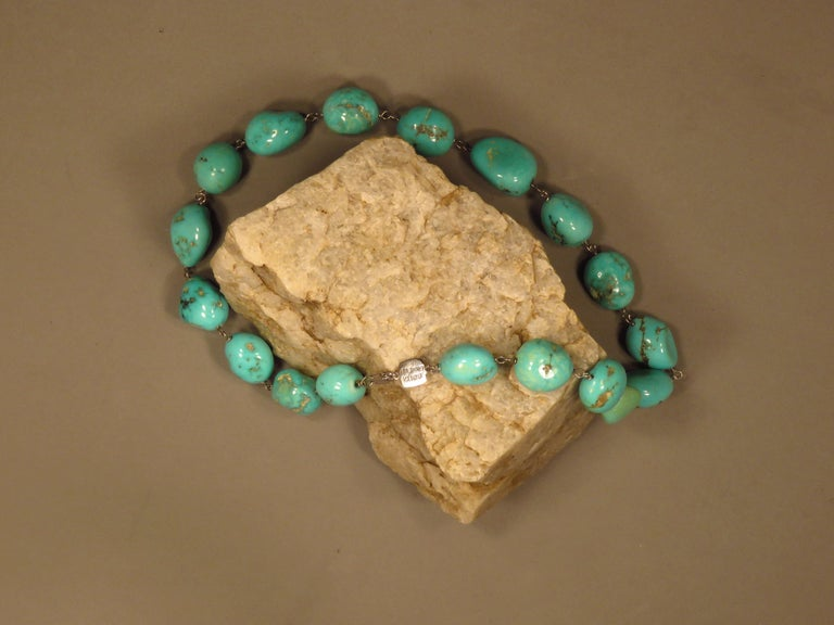 Turquoise White Gold Necklace Handcrafted in Italy by Botta Gioielli For Sale 3