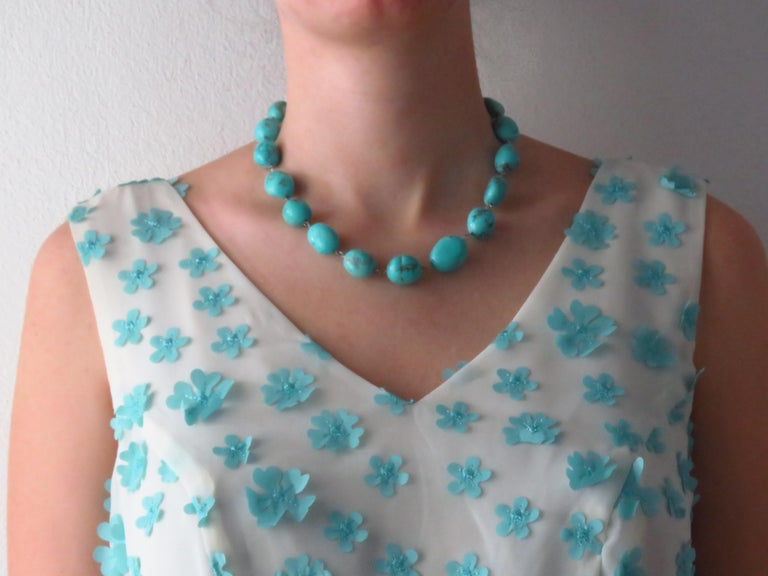 Turquoise White Gold Necklace Handcrafted in Italy by Botta Gioielli For Sale 1