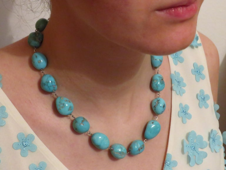 Women's Turquoise White Gold Necklace Handcrafted in Italy by Botta Gioielli For Sale