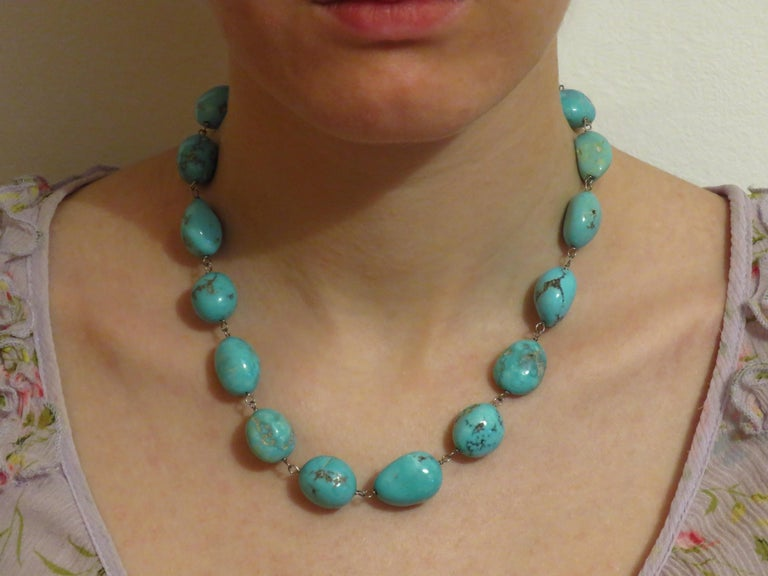 Turquoise White Gold Necklace Handcrafted in Italy by Botta Gioielli In New Condition For Sale In Milano, IT