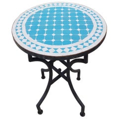 Turquoise / White Moroccan Mosaic Table - CR4