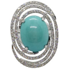 Turquoise with Diamond Ring Set in 18 Karat White Gold Settings